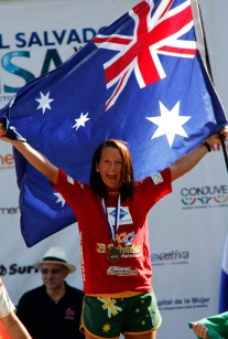 Layne Beachley celebrates her eighth world title at the ISA Masters in El Salvador