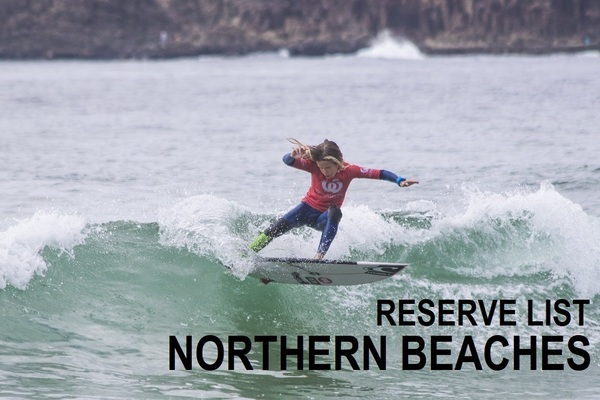 Woolworths Surfer Groms Comps 2018/19 - Northern Beaches - RESERVE LIST