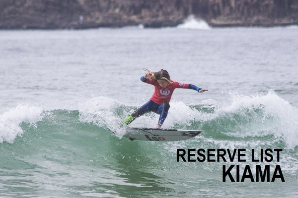 Woolworths Surfer Groms Comps 2018/19 - Kiama - RESERVE LIST