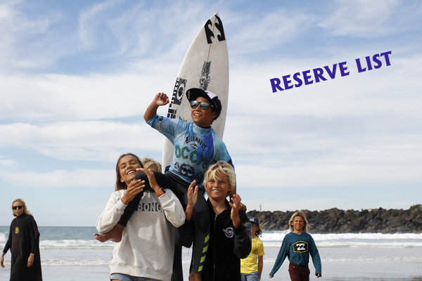 RESERVE LIST for 2016 Billabong Occy's Grom Comp