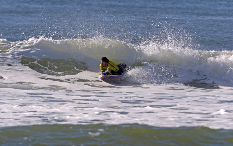 Photo - Barney Miller competing at last year's nudie Australian Adaptive Surfing Titles on the Tweed Coast