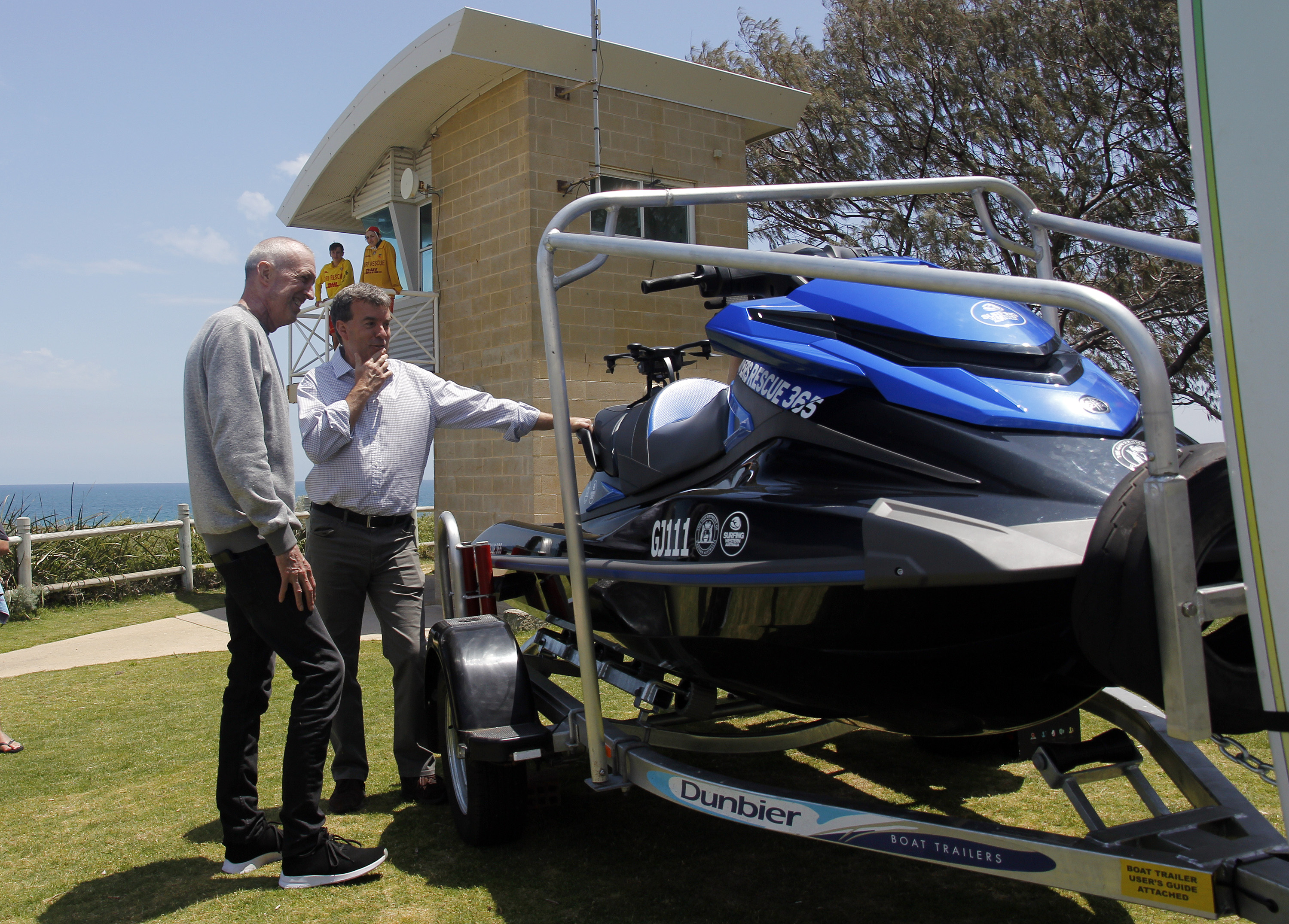 4265d0f0212 Department of Fisheries Minister Dave Kelly with Surfing WA CEO Mark Lane. Surfing  WA Majeks